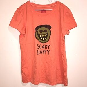 Girl's Life is Good Scary Happy Halloween NWOT L